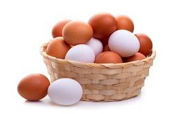 Eggs in a wicker basket.