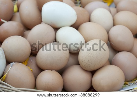 Eggs in basket, Thai people use for sacrifice.