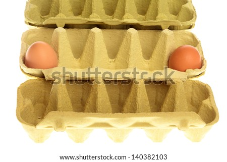 eggs in box isolated on a white background
