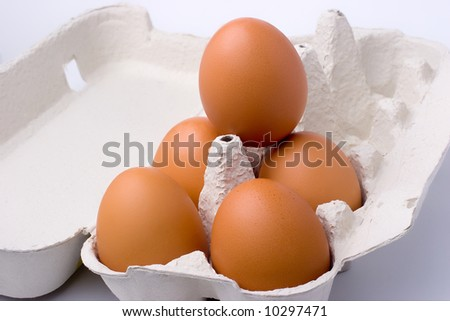 eggs in pack closeup