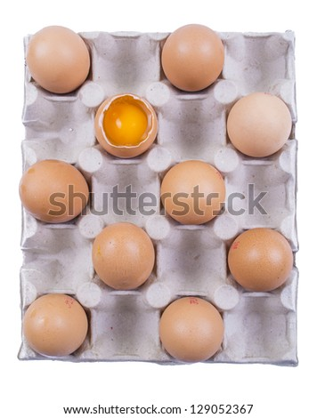 Eggs in the package, chessboard with eggs