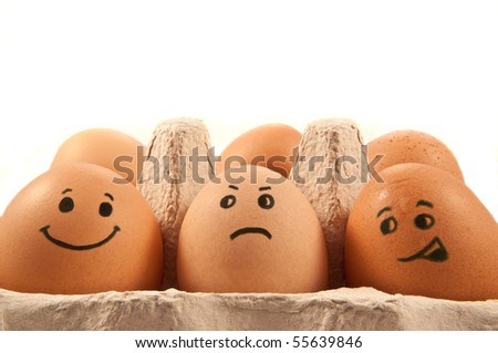 Eggs with faces.