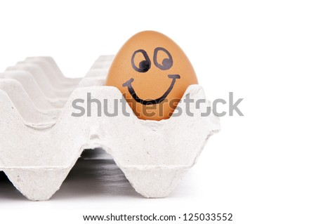 Eggs with human characteristics isolated on white as concept