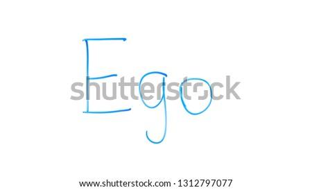 Ego word written on glass, personal development, improving self-knowledge