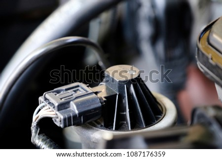 EGR sensor of gasoline engine use for reverse exhuast to combustion again for reduce pollution from engine work #1087176359