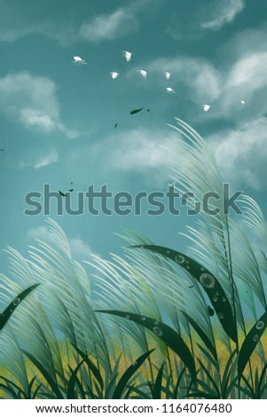 Egret illustration background flying in the reeds