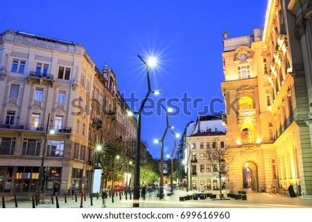 Egyetem Square in Budapest Downtown at dusk Stock fotó ©