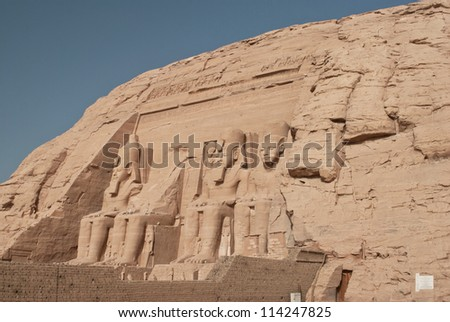 Egypt. Abu Simbel Temple of Rameses II (The Great Temple) situated on the western bank of Lake Nasser. The Abu Simbel Temples is part of the UNESCO World Heritage Site since 1979 #114247825
