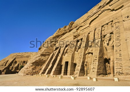 Egypt. Abu Simbel. The Temple of Hathor and Nefertari (the Small Temple) and the Temple of Rameses II (also known as the Great Temple; in background) situated on the western bank of Lake Nasser.