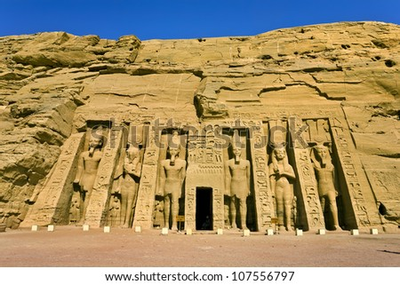 Egypt. Abu Simbel. The Temple of Hathor and Nefertari (the Small Temple) situated on the western bank of Lake Nasser. The Abu Simbel Temples is part of the UNESCO World Heritage Site since 1979 #107556797