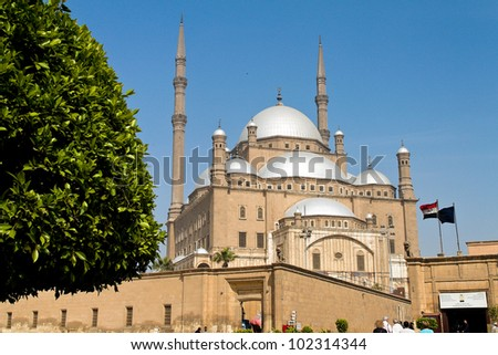 egypt, cairo. mohammed ali mosque. alabsater mosque. outside.