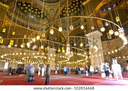 Egypt. Cairo. The Mosque of Muhammad Ali (or Mohamed Ali Pasha, also known as the Alabaster Mosque) inside - stock photo