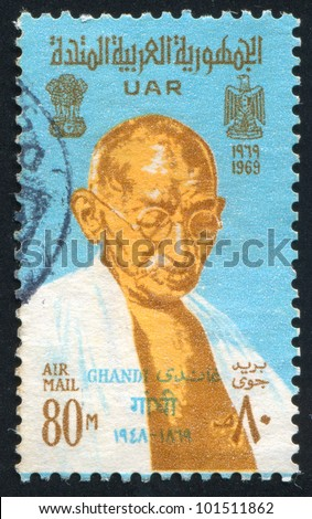 EGYPT - CIRCA 1969: stamp printed by Egypt, shows Mahatma Gandhi, Arms of India and UAR, circa 1969.