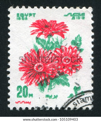 EGYPT - CIRCA 1983: stamp printed by Egypt, shows Red flowers, circa 1983