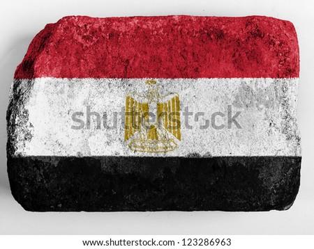 Egypt. Egyptian flag  painted on brick