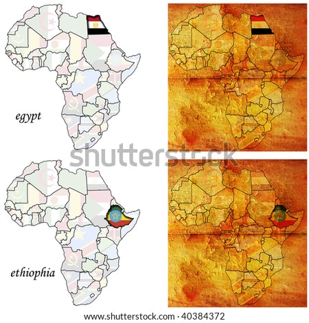 egypt & ethiophia on two kinds of africa map