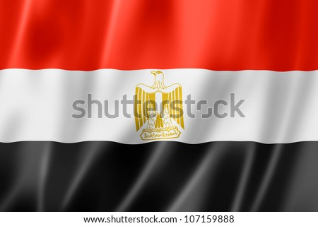 Egypt flag, three dimensional render, satin texture