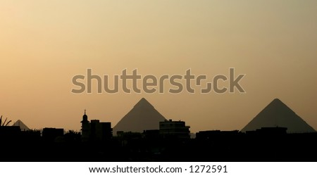 egypt: giza pyramids - stock photo
