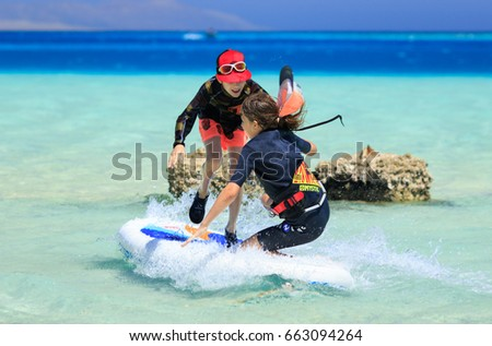 EGYPT - JUNE 10th - JUNE 16th 2017: Kite Safari kiteboarding, diving and wakeboarding recreational trip around Egyptian Red Sea uninhabited islands held by KITE MONKEY Red Sea Explorers. #663094264