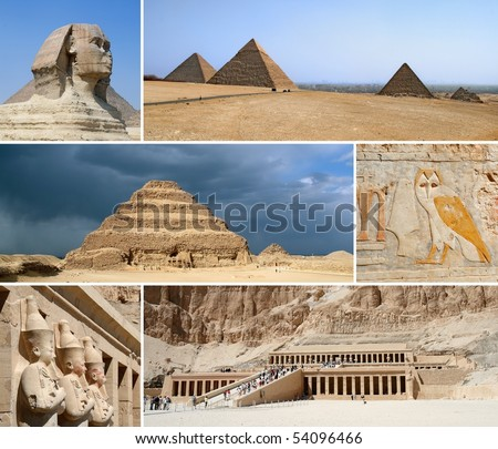 Egypt Landmark Collage - Highlights - stock photo