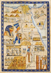Egypt map drawn on Papyrus with elements most prominent of the antique Egypt