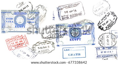 Egypt, morocco and russia passport stamp