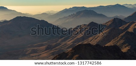 Egypt. Mount Sinai in the morning at sunrise. (Mount Horeb, Gabal Musa, Moses Mount). Pilgrimage place and famous touristic destination. #1317742586