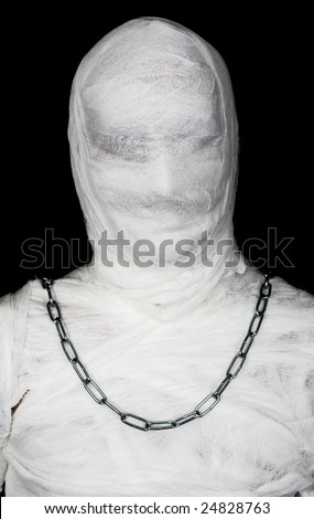Egypt mummy portrait with chain of neck on black