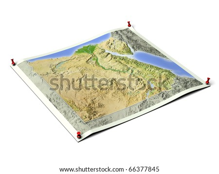 Egypt on unfolded map sheet with thumbtacks. Map colored according to vegetation, with borders and major urban areas. Includes clip path for the background.