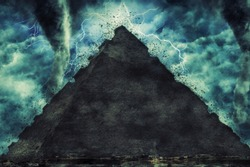 Egypt pyramid and the stone Sphinx on the Giza platou during the heavy storm, rain and lighting in Egypt, creative picture