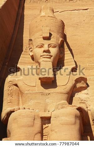 Egypt, the temple of Abu Simbel, sitting figure of Ramesses. - stock photo