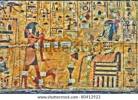 Egyptian ancient paint. Travel background. Toth God and Pharaoh. - stock photo