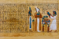 Egyptian ancient papyrus with different pictures and hieroglyphics