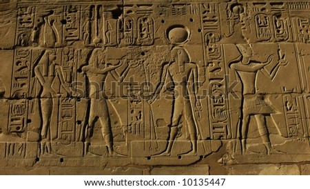 Egyptian basrelief and hieroglyphs in Karnak temple, Luxor, Egypt