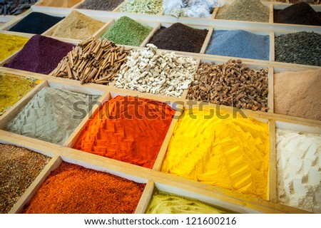 Egyptian Bazaar and the Grand Bazaar in Istanbul. Turkey. Egyptian spice market