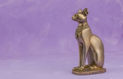 Egyptian cat Bast or Bastet, solar and war goddess, isolated on