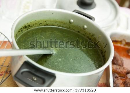 Egyptian easter food cuisine kofta, turkey, molokhia, macaroni and soup
