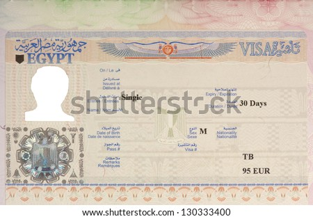 Egyptian entry visa in a passport with photo and most details removed.