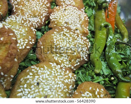 Egyptian falafel with sesame and garnish