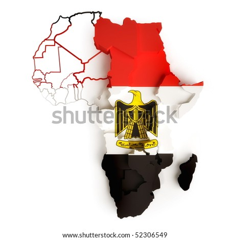 Egyptian flag on map of Africa with national borders