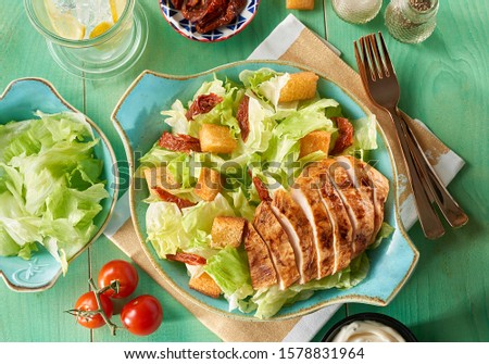 Egyptian food chicken slices and salad