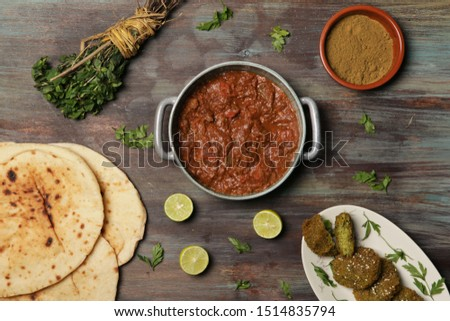 Egyptian Food  on Wooden Background