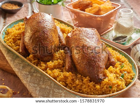 Egyptian food roasted duck with rice