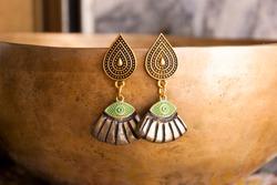 Egyptian gold black bohemian earrings. Handmade jewelry.