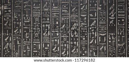 egyptian hieroglyphs on black schist