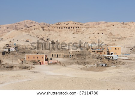 Egyptian house near Valley of the Kings. This people lives near ancient tombs and plunder these.