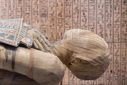 Egyptian mummy close up detail with hieroglyphs background
