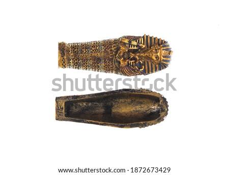 Egyptian mummy sarcophagus Isolated on white background Stock photo ©