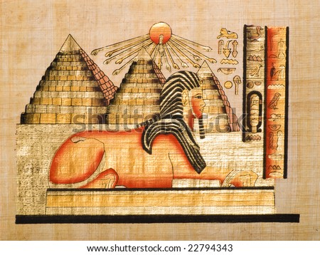 Egyptian papyrus showing the Sphinx and the pyramids above the solar disc
