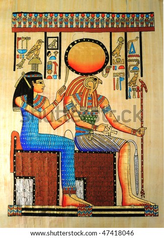 Egyptian papyrus with Horus and queen
